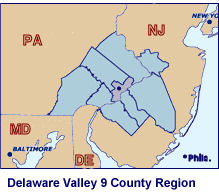 Delaware Valley - 9 County Map