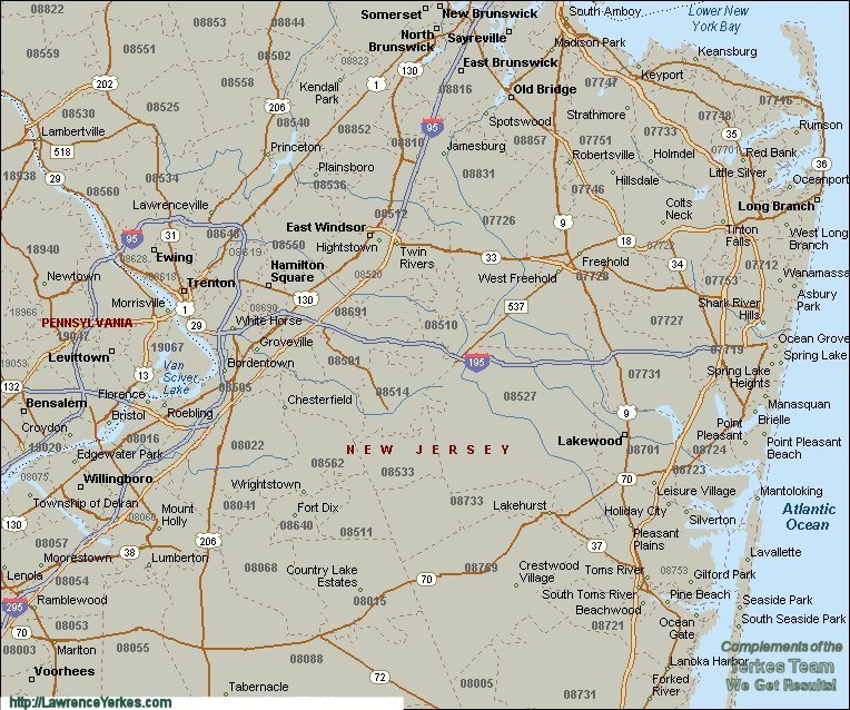 Lawrence Yerkes - New Jersey and Delaware Valley Zip Code Maps