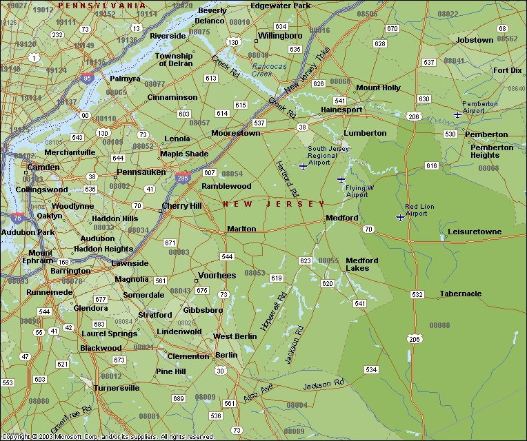 Lawrence Yerkes New Jersey And Delaware Valley Zip Code Maps - New jersey area code map
