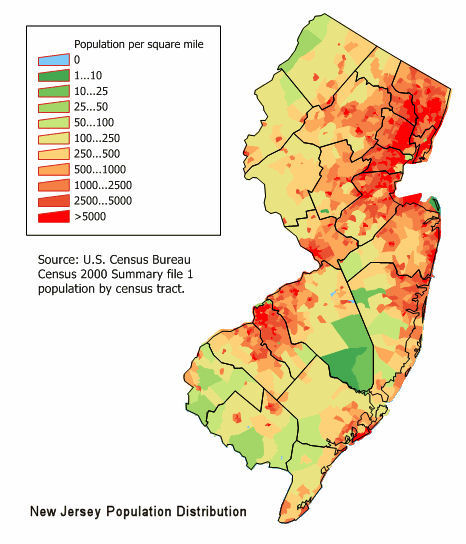 New Jersey Population Distrbution - 2000